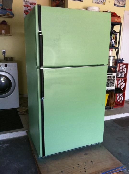 I will be doing this to our old fridge. Krylon Pistachio Green spray paint