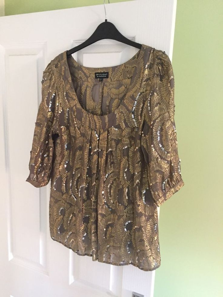 Beautiful gold/grey sequin top, perfect to dress up jeans or wear with smart trousers/skirt. | eBay!