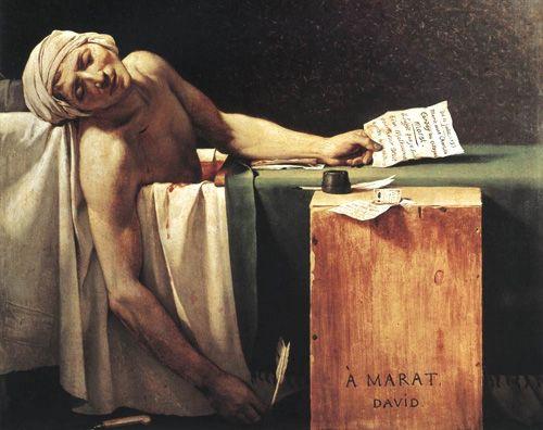 "Jacques - Louis David, pintor neoclásico francés de la corte napoleónica. ""La muerte de Marat""."