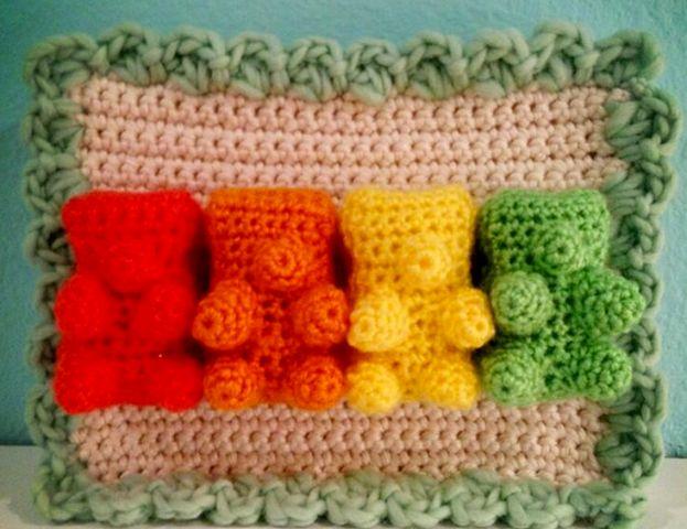 Cute Crochet Gummy Bear Blanket.