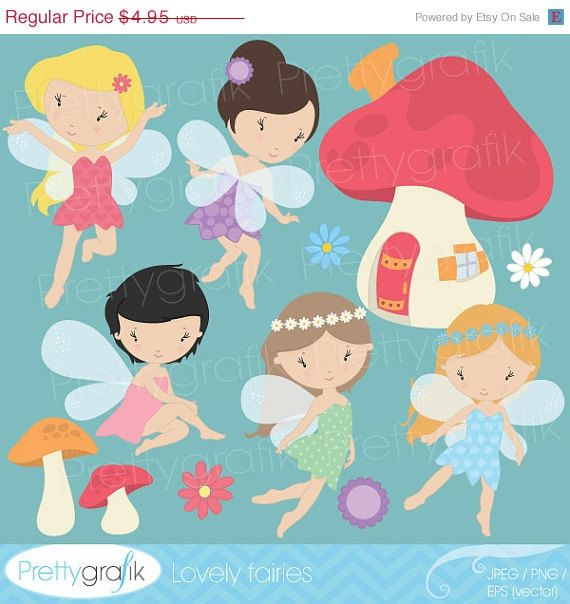 40 OFF SALE fairy clipart commercial use by Prettygrafikdesign, $2.97
