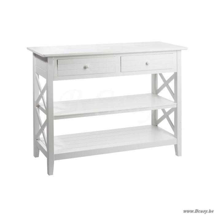 J-Line Landelijke Witte houten console met 2 lades en kruisen wit 105 Jline-by-Jolipa-51082