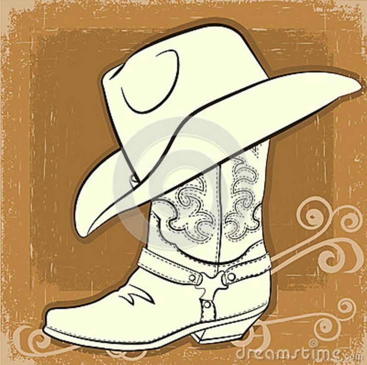 cowboy boot painting | Cowboy Boot And Hat.Vector Vintage Image Royalty Free Stock Images ...