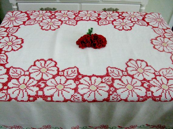 Embroidered Linen Tablecloth, Bright Red And Yellow Daisies, Rectangular,  Vintage Table Linens,