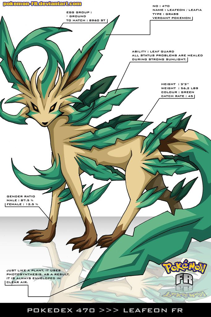 Pokedex 470 - Leafeon FR by Pokemon-FR.deviantart.com on @deviantART Wow, that's gotta be one of the coolest renditions or a POKeMON I've ever seen.