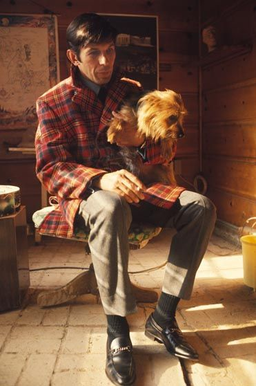 Leonard Nimoy + friend    Photo by Guy Webster  Found a pic for my next man crush Monday.  Spock in plaid with a dog.