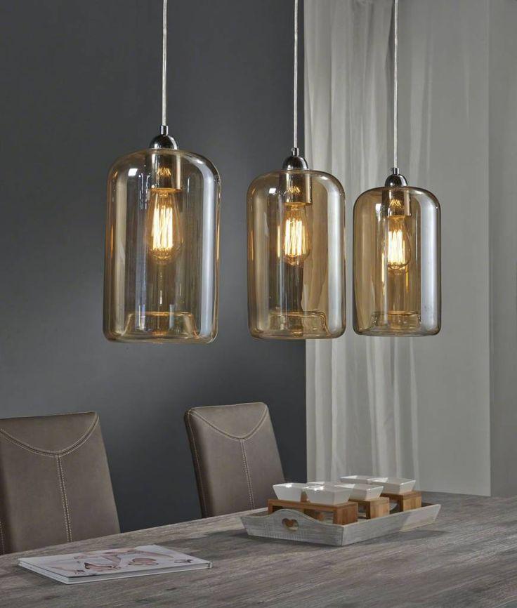 Zijlstra Hanglamp 3L kelk amber kleurig glas