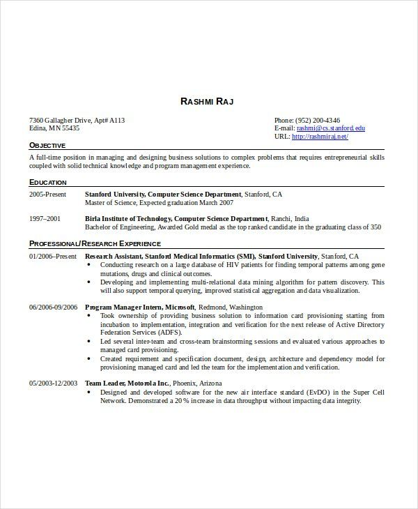 Resume Format 6 Years Software Engineer 2-Resume Format Resume