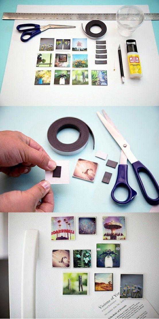 Mosaico magnético de fotos. #diy #craft #board #photo #ideias Obs: essa fita magnética vende na kalunga.