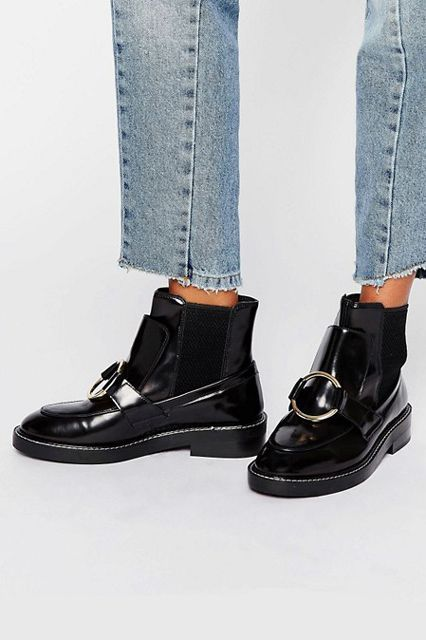 Try a funky pair of black boots this season. These will amp up your outfit instead of just complementing it. ASOS Antos Leather Chelsea Ankle Boots, $96.74, available at ASOS. #refinery29 http://www.refinery29.com/best-womens-ankle-boots#slide-17