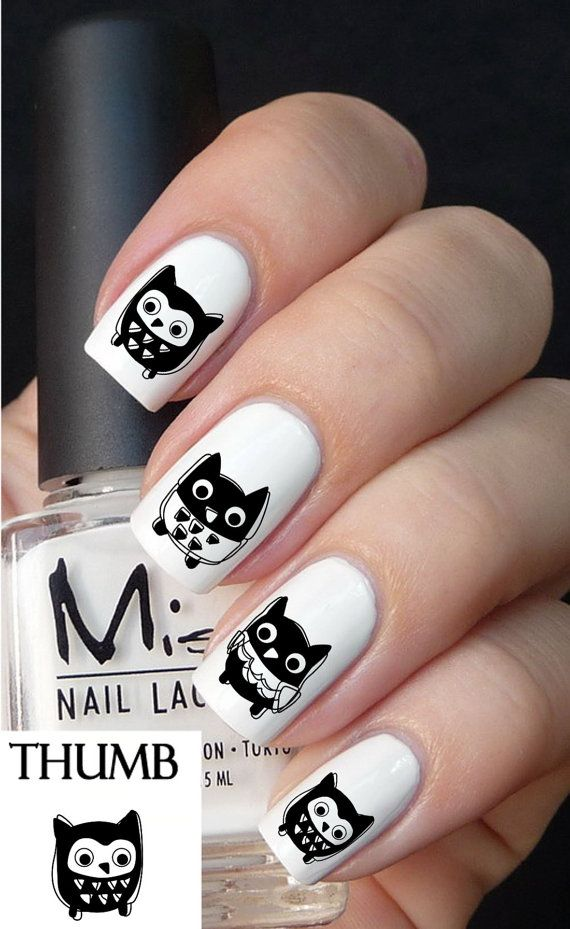 Cute Owl Nail decal by DesignerNails on Etsy, $3.95
