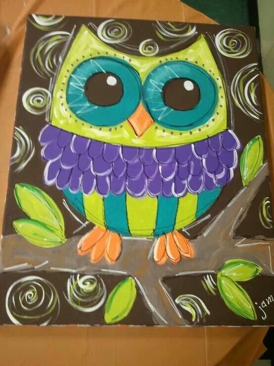 Owl canvas painting                                                                                                                                                                                 More