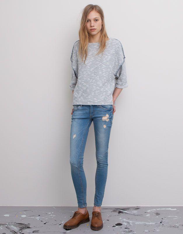 Pull&Bear - donna - denim collection - jeans skinny tagli davanti - azzurro chiaro - 05682304-V2015