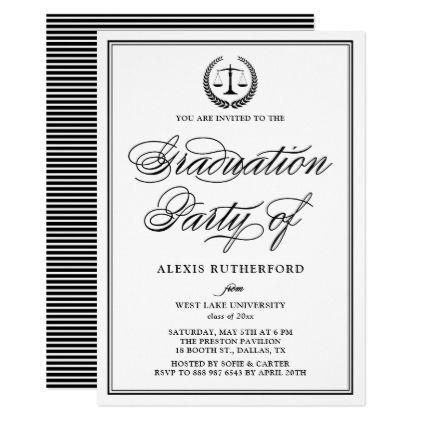 Black Elegant Script Law School Graduation Party Invitation In 2018