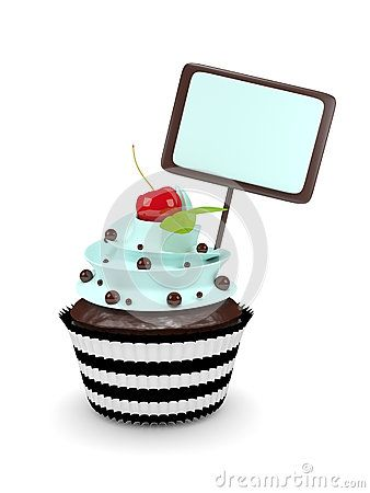 Sweet cupcake with blank board  on white background