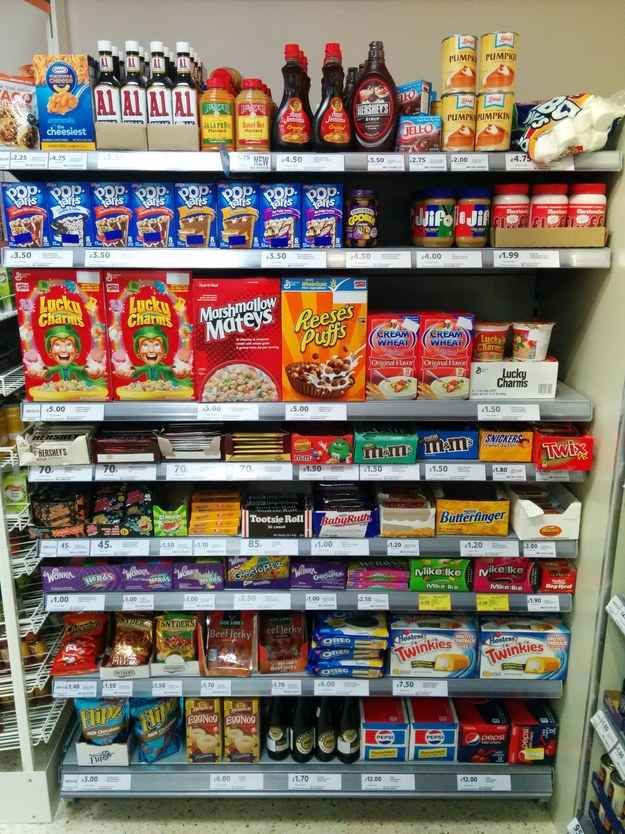 """It's all sugar! A user from the UK posted this photo on Reddit of the """"American foods"""" section at his local food store."""
