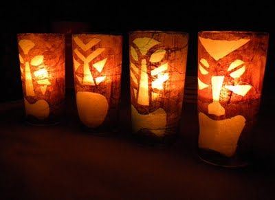 diy tiki lanterns from juice glasses