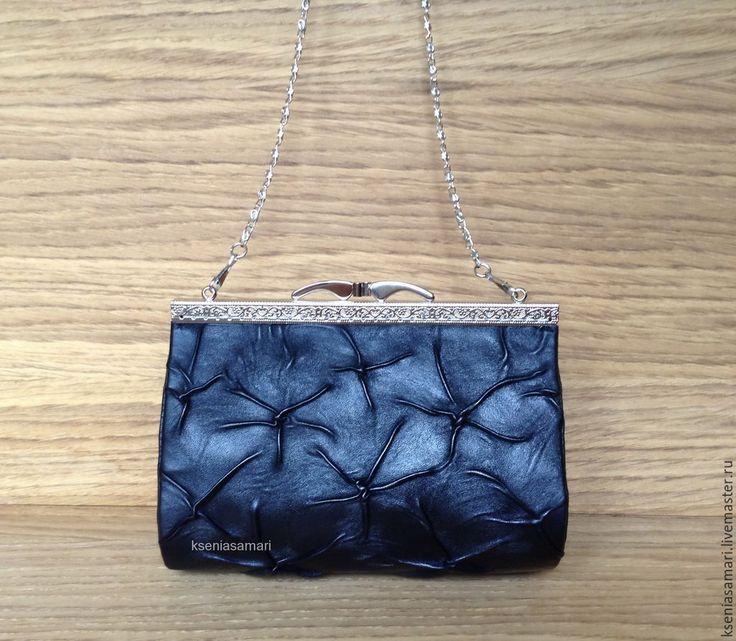 Купить Маленькая сумочка с фермуаром - черный, клатч, клатч ручной работы, сумочка с фермуаром, жатка