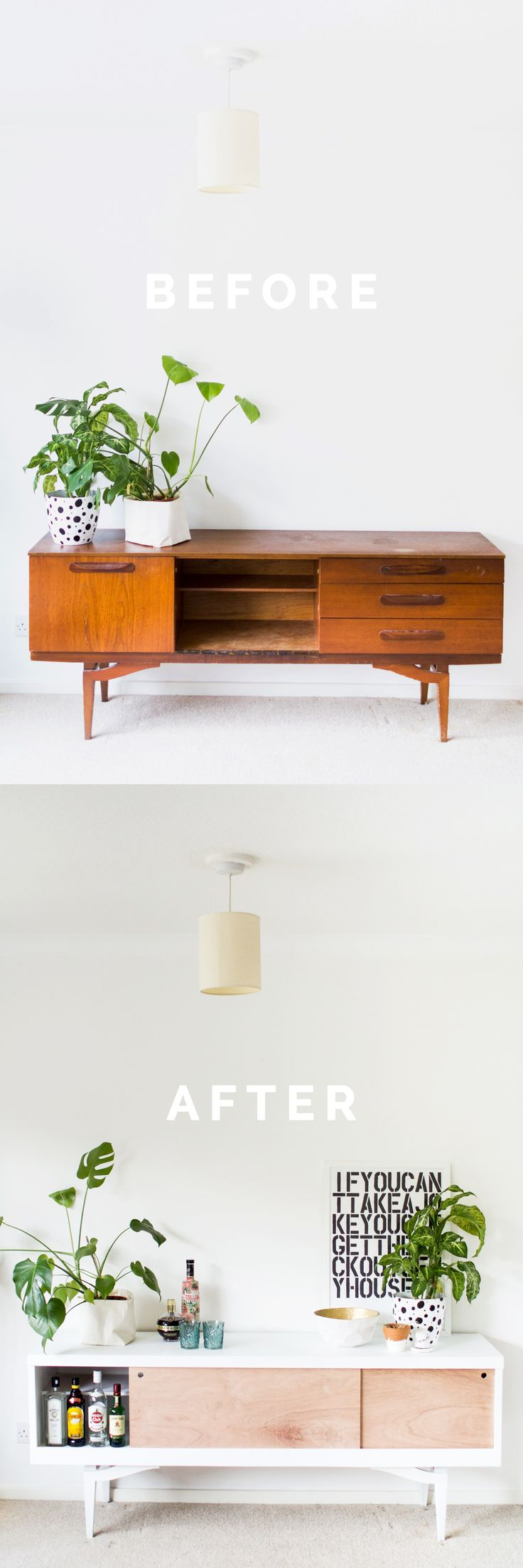 DIY Sideboard Makeover styled before and after pin