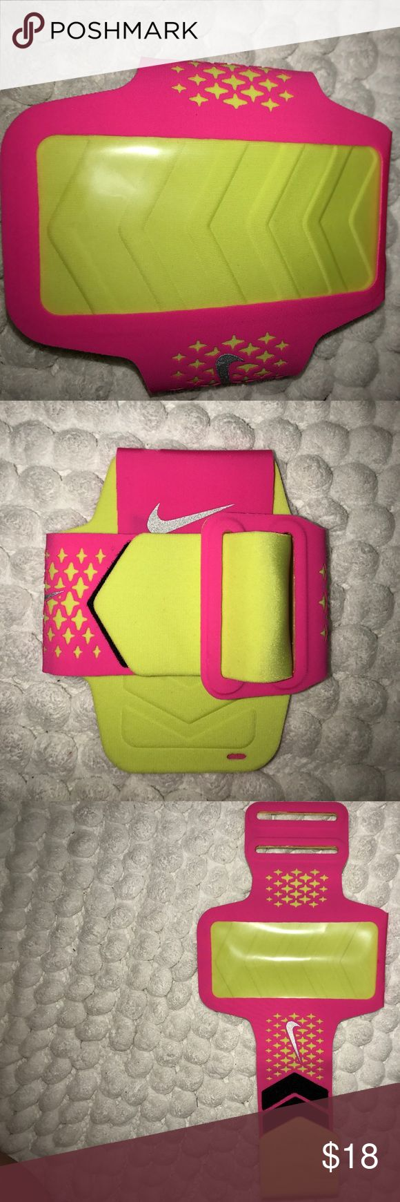 Nike iPhone 6s and below armband NWOT. NEVER used. I got two as gifts but then got a new phone and it doesn't fit them. Pink and yellow. For iPhone 6s and below. Make an offer. Nike Accessories Phone Cases
