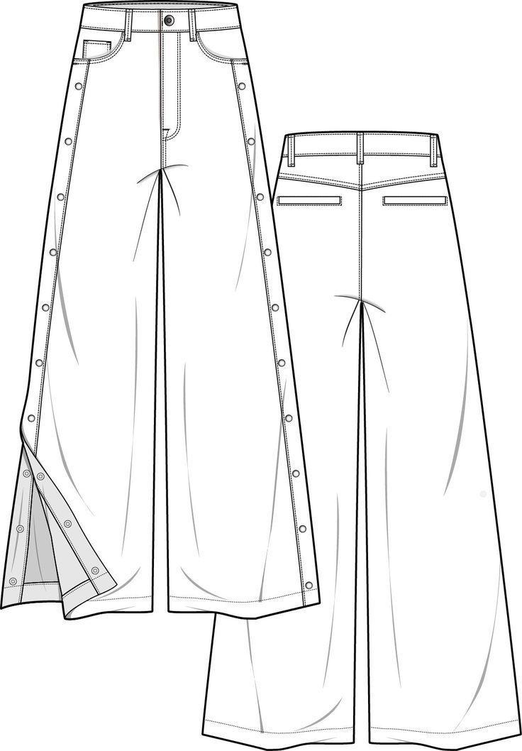 Hose Mode flache technische Zeichnung Vorlage – #flache #Hose #Mode #technische …