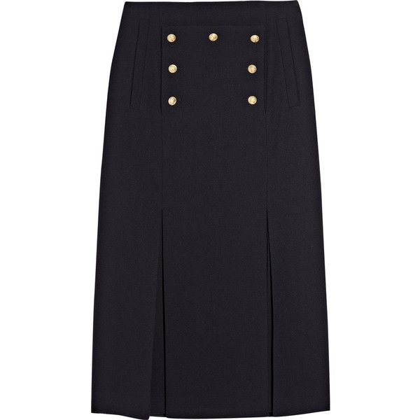 Alexander McQueen Embellished wool-crepe skirt found on Polyvore
