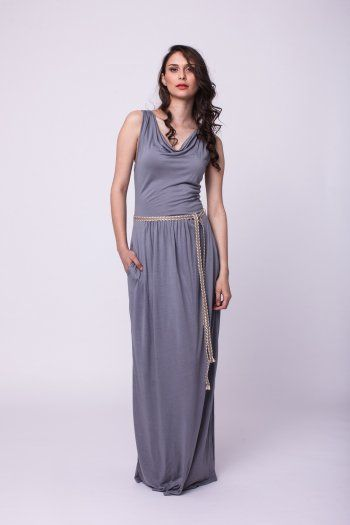 Jersey grizzle dress with jute girdle at waist