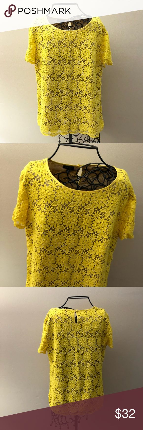 """Yellow Flowered Short Sleeve Top. NWOT Talbots. New without tags. New condition. Size 10.  Beautiful yellow flowered top. Nude underlay. Zip up side. Measurements lying flat: armpit to armpit 20"""" and length 25"""".  ❌ No trades or off Poshmark transactions.   👌🏻Quick shipping.   💁🏻Offers welcome through """"Make an Offer"""" feature.   👗👠 Bundle discount.   ❔ Feel free to ask any questions. Talbots Tops"""