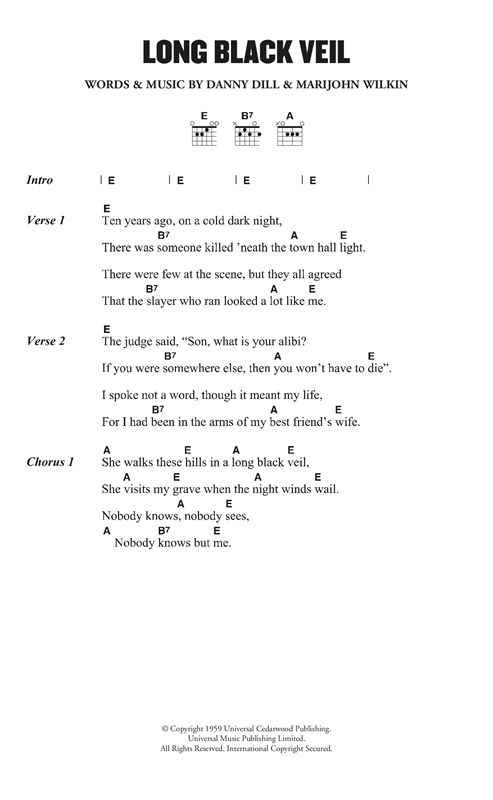 Lefty Frizzell Long Black Veil Sheet Music Notes Chords Score Download Printable Pdf In 2021 Sheet Music Notes Guitar Chords And Lyrics Music Notes