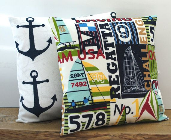 One nautical  pillow covers, cushion, decorative throw pillow, decorative pillow, accent pillow, pillow case