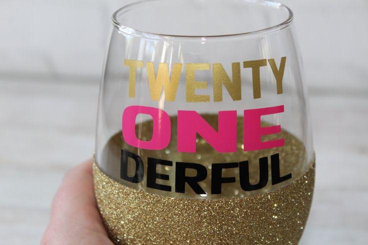 21st Birthday Wine Glass / 21st Birthday Gift / 21st Birthday / 21st Birthday Gift for Her / 21 Birthday / Glitter Dipped Wine Glass by TheJargonBar on Etsy