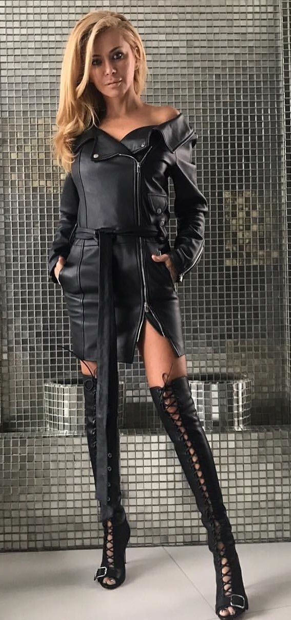 #winter #outfits men's black leather zip-up jacket and pair of black knee-high heels outfit