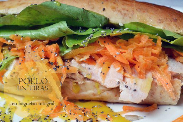 Sandwich Pollo en Tiras, en baguetín integral (casera!). Pollo en tiras, zanahoria, lechuga, mostaza dulce