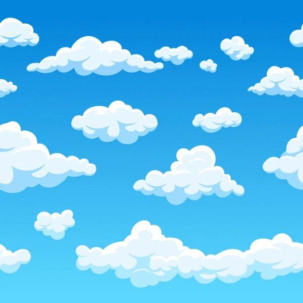 White Clouds Fabric Blue In 2021 Cloud Fabric Clouds Cartoon Clouds