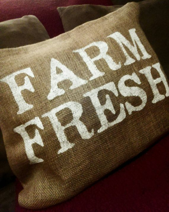 Burlap Pillow Burlap Farm Pillow Primitive Pillow Farm