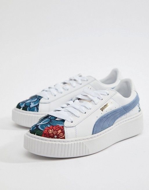 6363bd25e935 Puma Suede Platforms In White With Embrodiery in 2019