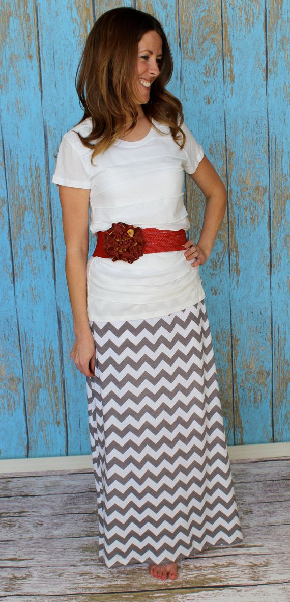 Chevron Maxi Skirt A line style in Grey and White by Gogreenstyle, $50.00