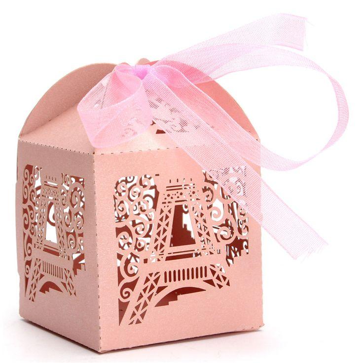 Mejor precio 10 unids cartón de lujo torre Eiffel del caramelo del banquete de boda cajas del Favor de la cinta regalo 5 x 5 x 7 cm en Cajas de Embalaje de Industria y Negocio en AliExpress.com | Alibaba Group