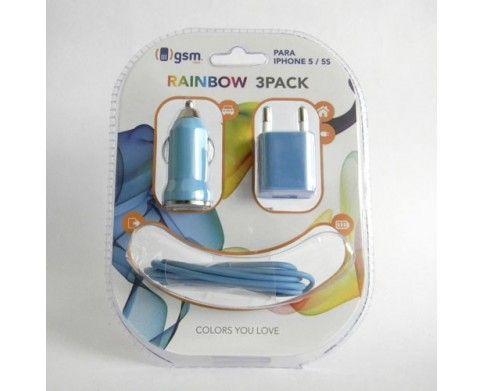 iPhone 5 Azul Set Rainbow 3 en 1 | IPhone 5 Set de accesorios | incluye adaptador de carga para auto | adaptador de carga para casa y cable de datos para iPhone 5, todo en color Azul | Visítanos; www.gsmchile.cl | @gsm_chile | www.facebook.com/gsmchile.cl