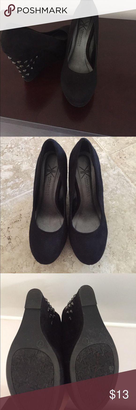 Black Studded Kardashian Kollection Wedges. Size 7 Kardashian Kollection wedges. Size 7 Kardashian Kollection Shoes Wedges