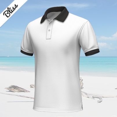 Bliss    White short-sleeved polo shirt, 100% cotton...    This white custom polo shirt has its cuffs and collar in black. The colors contrast, but look at the same time harmonic. It's a good thing to buy for this summer, as you can wear it for every occasion. Without doubt, a basic, which never will be out of fashion. http://www.tailor4less.com/en/collections/custom-polo-shirts/endless-summer/bliss