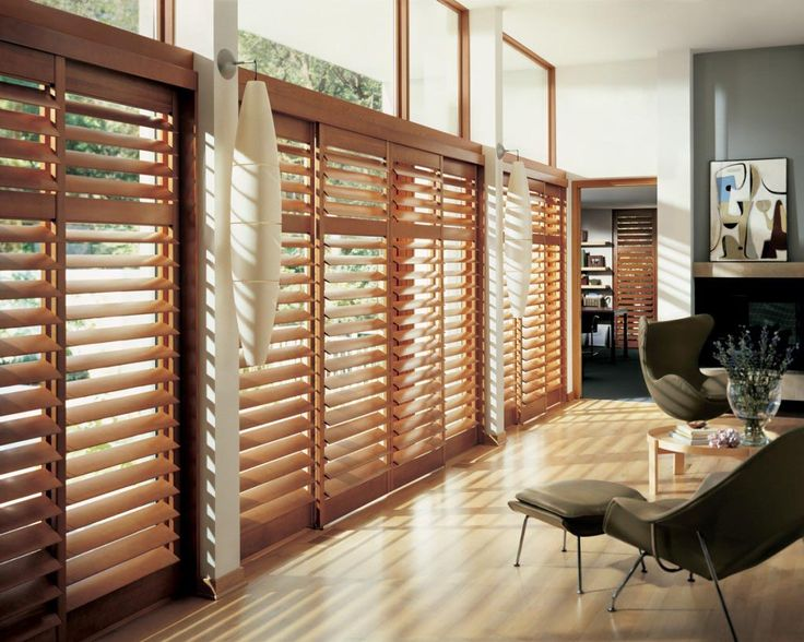 Living Room Blinds · Wood Blinds For Large Windows | Window Treatments Design  Ideas