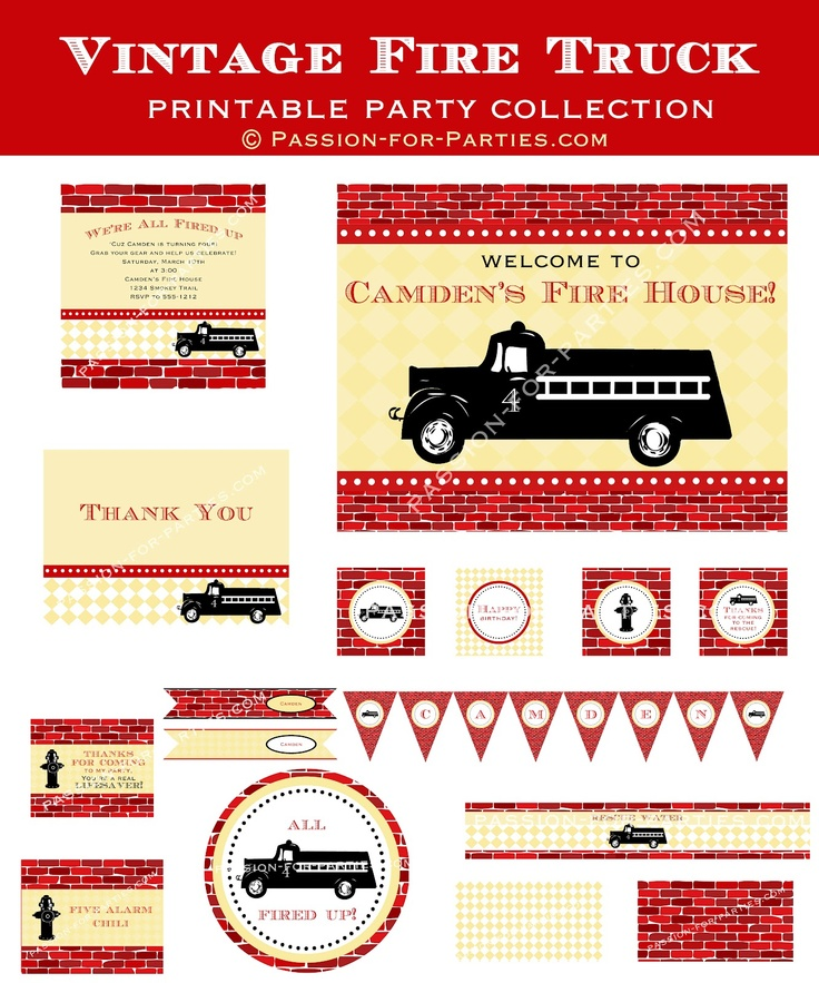50 best images about firetruck party – Fire Truck Party Invitations