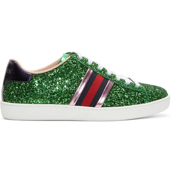 Gucci Green Glitter Ace Sneakers ($625) ❤ liked on Polyvore featuring shoes, sneakers, rubber sole shoes, gucci sneakers, low profile sneakers, lace up sneakers and lacing sneakers