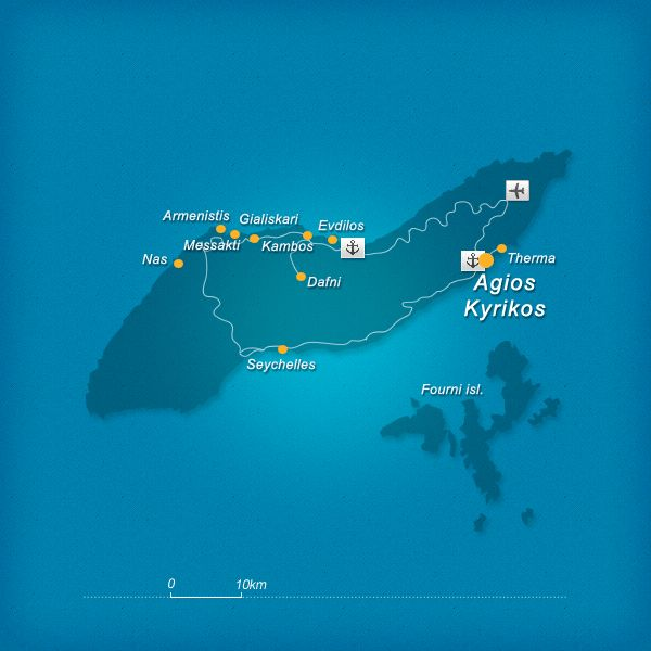 View a graphical Ikaria map but also a Google map with villages, beaches and sightseeing. Also, view Ikaria on a map of Eastern Aegean and Greece.