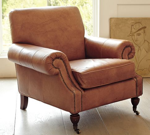 Brooklyn Leather Armchair - pleated roll arms, antique bronze nail heads, scooped.