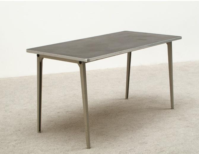 industrial friso kramer table with black linoleum top and grey metal structure model reform. Black Bedroom Furniture Sets. Home Design Ideas