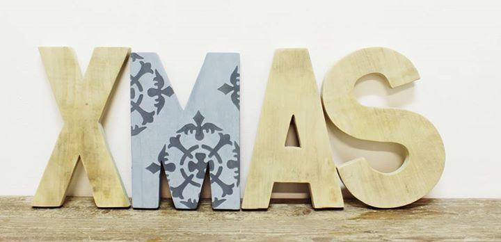 xmas letters with stencil
