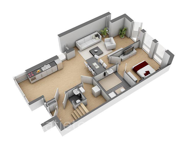 3D plattegrond - Van Der Heijden - 't Reut beganegrond