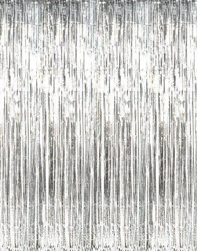 Curtains Ideas sheers and curtains : New Metallic Silver Foil Fringe Curtains 1 PC Backdrop Backgound Photo ...